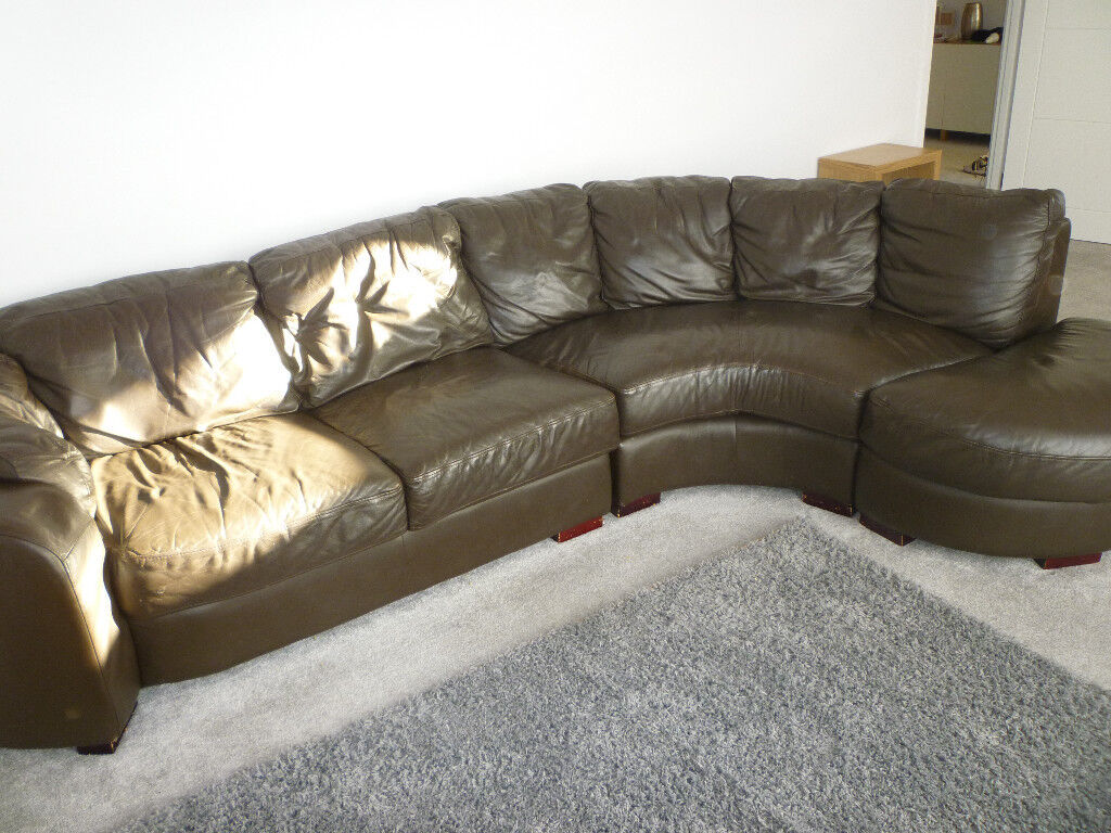 Leather Corner Sofa Furniture Village Brown 3 Modular Sections Very Comfortable