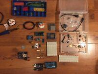 Arduino Mega 2560 + Sainsmart Uno + Audio Shield. Large kit with sensors, buttons, lights, soldering