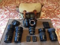 Sony A350 Camera, 5 Various Lenses, 2 Batteries, Bag, Charger