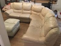 "Leather Corner Sofa seats 5/6 persons ""Putty"" Coloured Leather 3-Section & Matching Footstool"