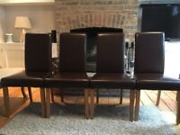 4 x Oak Furniture Land Leather Dining Chairs
