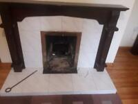 Fireplace with mahogany surround for sale