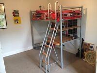 Loft bed frame and desk