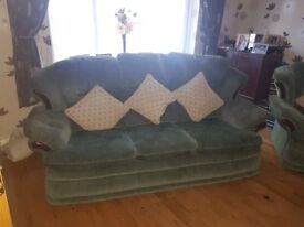 3 seater sofa 1 armchair and 1 armchair thst rocks and reclines