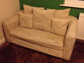Cream Sofa bed - ideal for spare room / teenager's room etc.