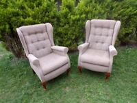 CAN DELIVER - PAIR OF HIGH BACK CHAIRS IN VERY GOOD CONDITION
