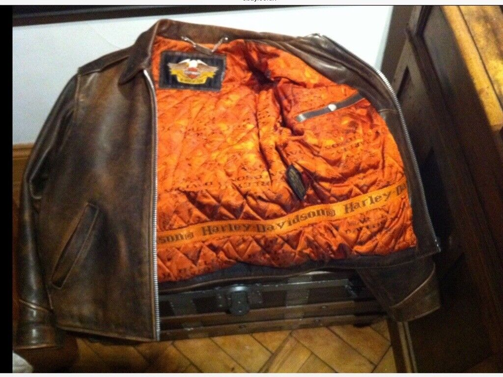 HARLEY DAVIDSON Brown Leather Jacket.size Med 40/42.Lovely Condition