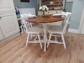 SHABBY CHIC SOLID BEECH DROPLEAF TABLE & 2 CHAIRS