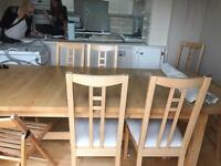 Large dining table and 8 chairs