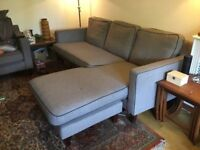 DWELL LIGHT GREY REVERSIBLE CORNER SOFA - MUST GO ASAP - CHEAP DELIVERY - £325