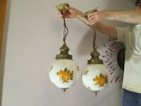 Pair of Vintage/Retro Kitch Glass Pendant ceiling lights on chains