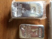 Silver bullion 1kg bars 500g bars