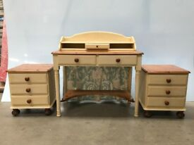 Solid pine dressing table & 2 bedside tables