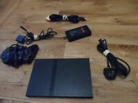 SLIM PS2 PLAYSTATION 2 WITH WIRES AND POWER LEAD ALSO 1 CONTROLLER