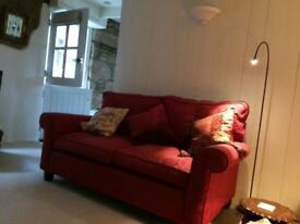 Laura Ashley 2 Seater Sofa in raspberry fabric, excellent condition