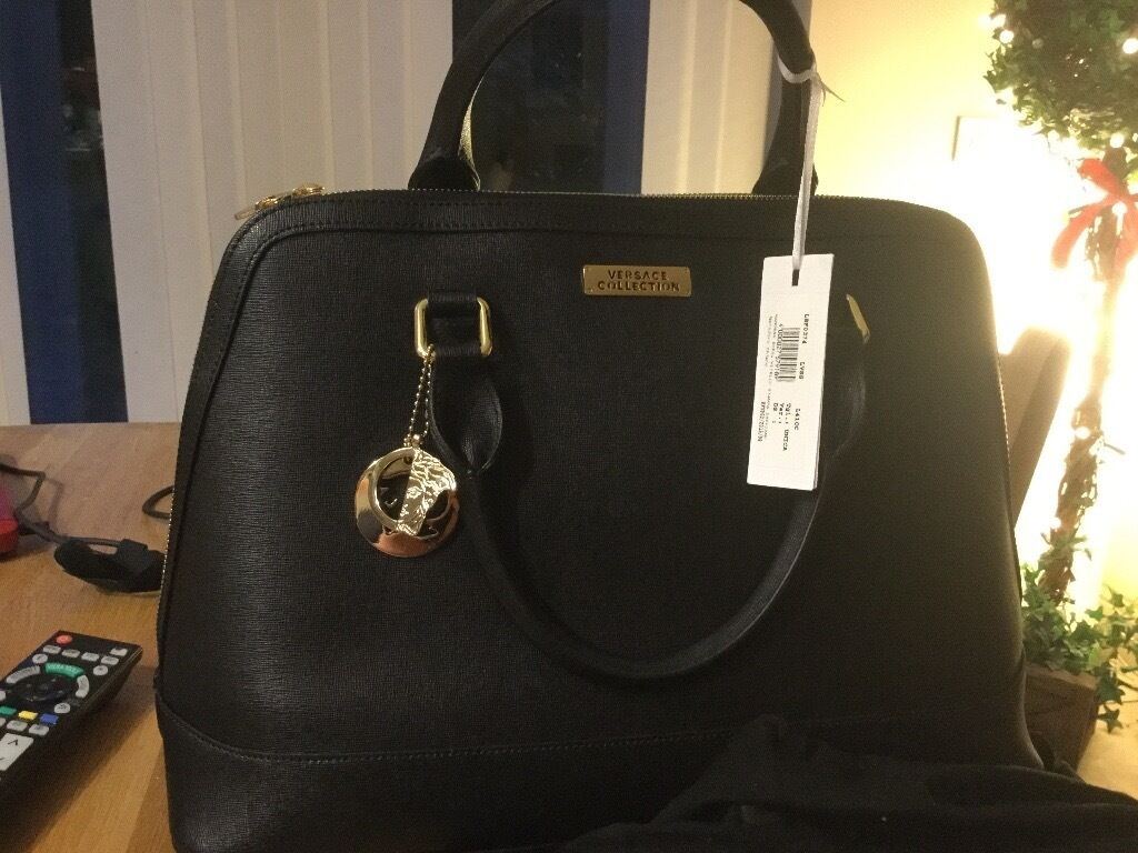 Versace Collection Leather Bowling Bag