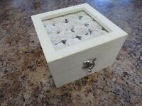 Lovely wooden white rose jewellery box for sale