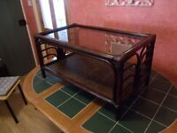 70's/80's Bamboo/Rattan Tinted Glass Topped Coffee Table