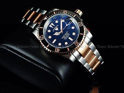 Rare New Legend Men's Deep Blue Diver Auto Sapphitek BLK Dial 18KRG IP SS Watch Deep Diver Silver Dial