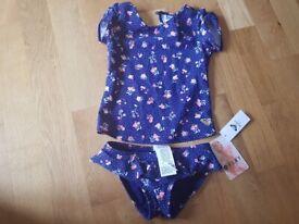 Roxy Girls Blue Frill Pant Bikini size 4