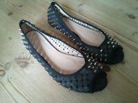 Metal Spike Black Shoes
