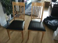 6 x Wood with Leather Cushioned Dining Chairs *Great Condition*