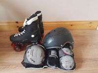 Quad roller boots helmet and triple pad set