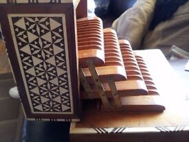 Mother of Pearl & Bone Inlaid Wooden Cigarette Dispenser ~ Musical