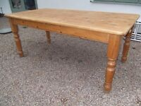 6' x 3' solid pine rustic country kitchen table