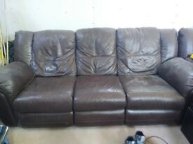 2 Reclining brown leather sofas