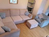 Corner suite, armchair and storage pouffet
