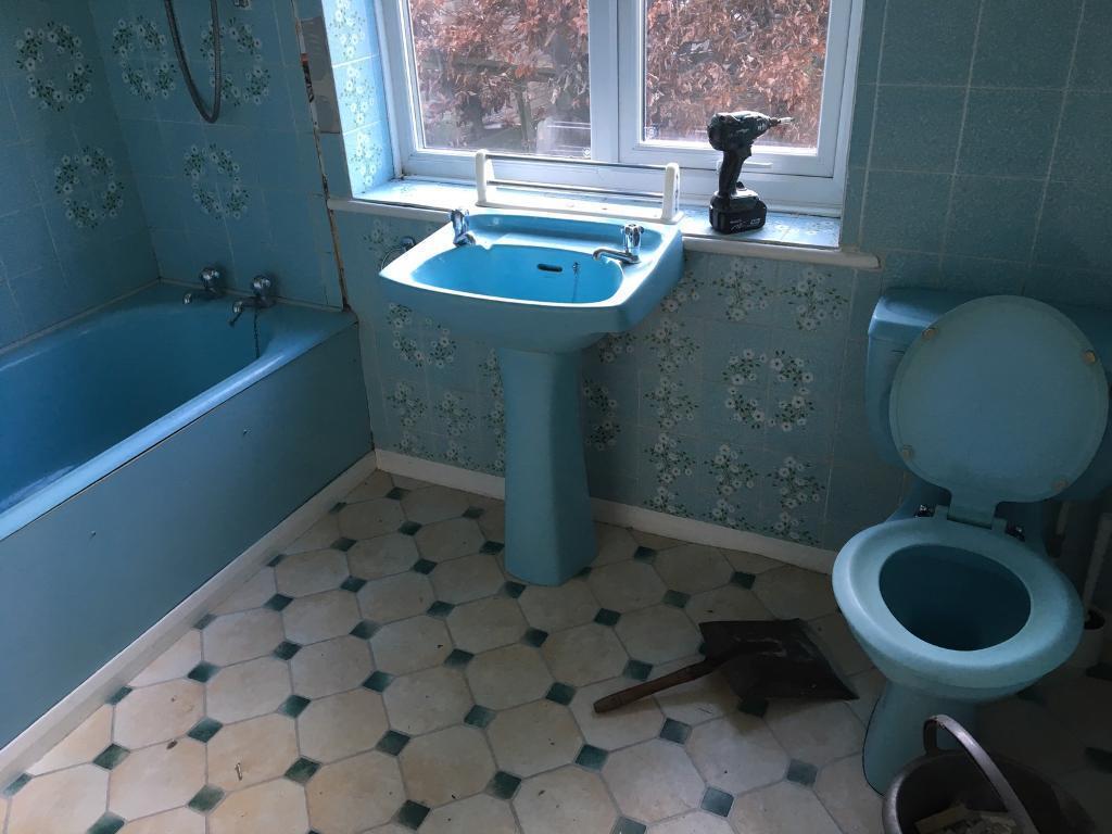 Vintage Blue Bathroom Suite Retro In