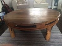 Solid oak large round coffee table