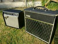Vox pathfinder and fender frontman guitar amps