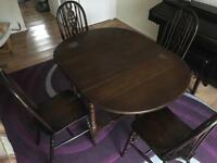 Folding wooden dining table and 4 chairs