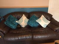 2 piece chocolate coloured sofas