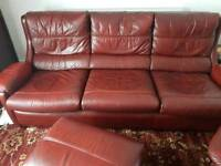 LEATHER 3 PIECE FURNITURE SUITE