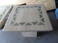marble coffee table set cream with green inlays