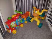 X2 ride on vtech train and little tikes giraffe bike