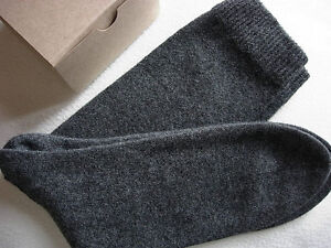 Mens Charcoal Gray Grey 100% cashmere bed socks ankle length