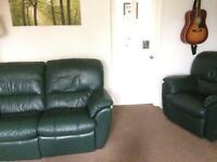 2 seater settee/couch & chair leather reclining green HTL