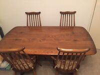 Ercol Dining Table and four chairs