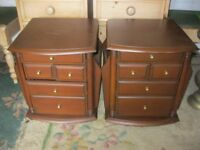 QUALITY STURDY MATCHING PAIR ORNATE BEDSIDE CABINETS. VIEWING / DELIVERY AVAILABLE