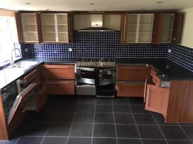 Complete Kitchen Units and worktop with Stoves Oven/Cooker, Miele Dishwasher, Sink and Plinth Heater