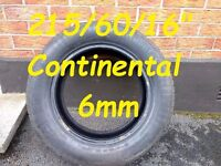 """Excellent 215/60/16"""" Continental Tyre 6mm"""