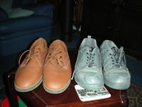 2 pairs of bowling shoes for outdoor greens both size 1. 1pr grey taylor shoes, 1pr brown as new