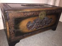 Beautiful antique carved camphor blanket chest/trunk in excellent condition