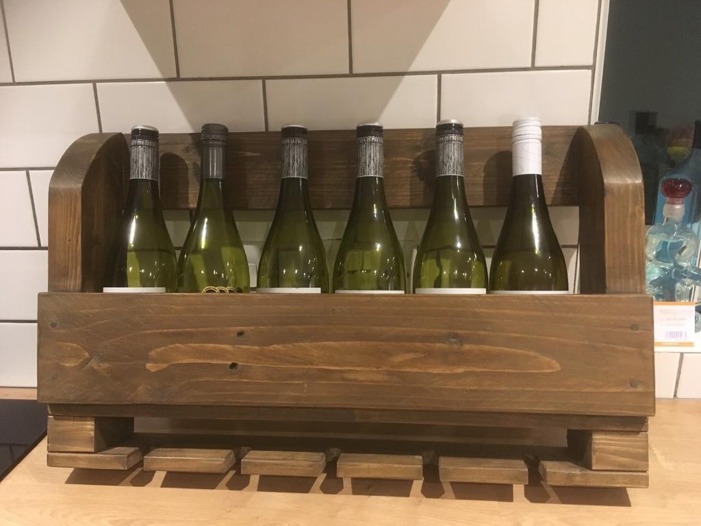 Handmade wall mounted wine rack with glass holders oak beeswax finish