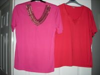 NEW PINK DAMART WITH SEQUINS AND A RED TEE SHIRT SIZE 16/18