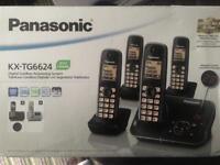 PANASONIC KX-TG6624EB Cordless Phone with Answering Machine - Quad Handsets brand new